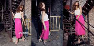 Sexy Club Cocktail Party Color Block Beach Maxi Long Dress #238 PINK