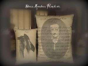 Primitive The Raven Poem 1845 Edgar Allan Poe Pillow S2