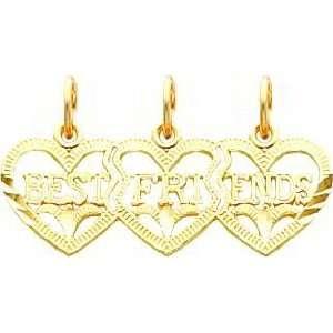 14K Gold 3 Heart Best Friends Breakable Charm Jewelry
