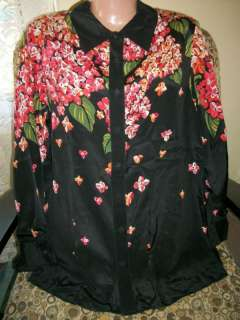 New Bob Mackie Wearable Art Sz M 100% Silk Floral Beaded Blouse Top