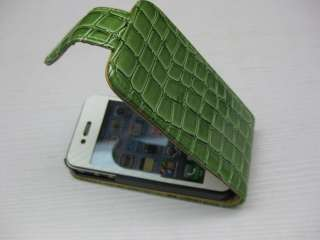 New Leather Flip Case for iPhone 4G   GREEN (#4st gr)