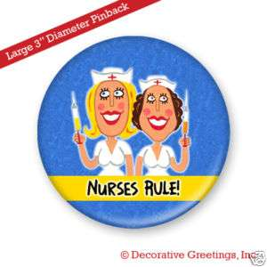 NURSES RULE Pin Badge Button Student nurse nursing Gift