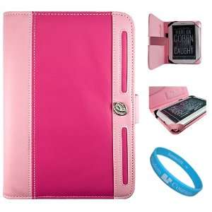 Magenta with Baby Pink Protective Leather Case Cover with