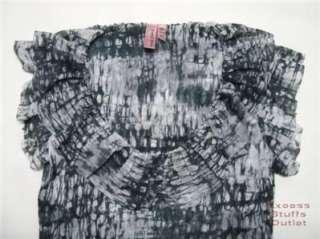 SWEET PEA Gray Ruffled Neck Tunic Top Shirt L NEW $78