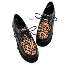 2012 Fashion Ladies Charming Leopard Lace Up High Platform Flats