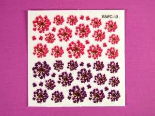 Glitter Gel Nail Art Flower Sticker Floral Decals 1324