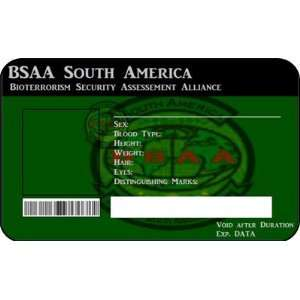 BSAA West Africa Bioterrorism Resident Evil ID Card