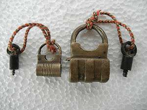 Old Lot 2 Brass Inlay Carving Screw Type Pad Lock,
