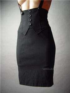 SUSPENDER Halter Dress Blk High fp Pencil Skirt S/M