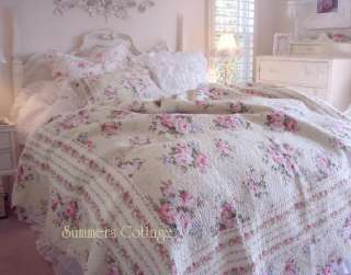 SHABBY COTTAGE FRENCH COUNTRY CHIC PINK ROSES QUEEN QUILT SET