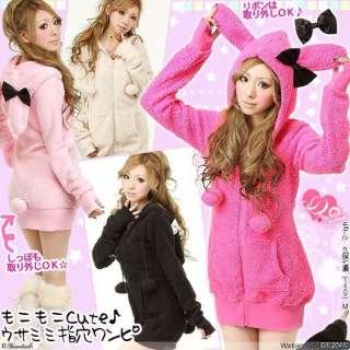 Colors Womens Girls Warm Bunny Ears Sherpa Hoodie Jacket Coat