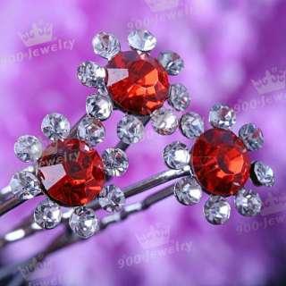 Red Crystal Flower Wedding Bridal Lady Hairpins 10PCS