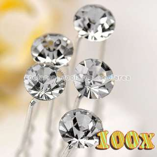 Clear Crystal Round Flower Wedding Bridal Hairpins Accessory Wholesale