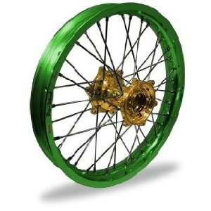 Pro Wheel Supermoto Rear Wheel Set   17x5.00   Green Rim/Gold Hub 27