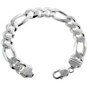 Sterling Silver Italian Figaro Link Necklace Chain 13mm (1