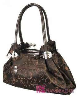Designer Inspired HEART & LOVE Fashion Clutch Bag Handbag Purse Brown