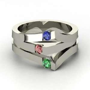 Gem Peak Ring, Round Red Garnet Sterling Silver Ring with