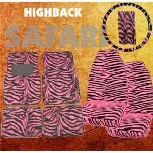com 9pc Safari Pink Zebra Print Car Floor Mats, High Back Seat Covers