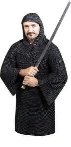 BLACK Medieval Metal CHAINMAIL Shirt & Coif Chain Hood