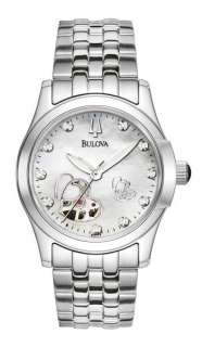 Bulova Automatic Diamond Mother Of Pearl Dial Womens Watch 96P114