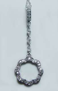 Delicate 18K White Gold Diamond Dangling Necklace Brand New