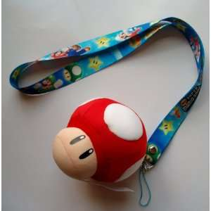 Super Mario Red Mushroom Plush Mascot Lanyard ~Cell Phone