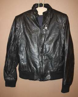 MENS VTG CAFE RACER BIKER LEATHER COAT/JACKET sz M