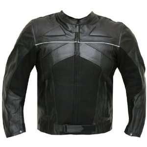 RAZER MENS MOTORCYCLE LEATHER JACKET ARMOR Black 3XL