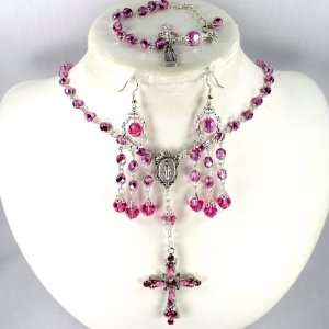 Catholic Wedding Jewelry Pink crystal 6mm rosary: Jewelry