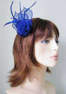 BLUE FLOWER SHAPED SINAMAY AND FEATHER HAIR FASCINATOR ON SPRUNG CLIP