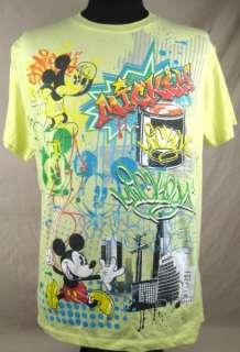 Mickey Mouse Graffiti Mens T shirt XL Yellow Spray Paint Can