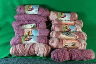 13 Skeins of Vintage Caron Dazzleaire Yarn Mauve & Chrome Rose Ombre