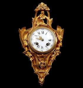 French Louis XV Gilt Bronze Cartel Clock Ca 1890 Antique Ormolu Style