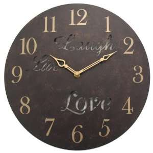 Geneva 12 Inch Live Laugh Love Metal Wall Clock