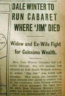 BEST 3 1920 Chicago newspapers JIM COLOSIMO DEAD Al Capone kills Mafia