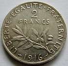 France 2 Francs coin Silver 1916 Km#845.1 silver 0.2684