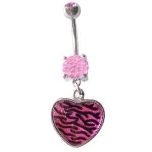 Pink Glitter Zebra Heart dangle Belly navel Ring piercing