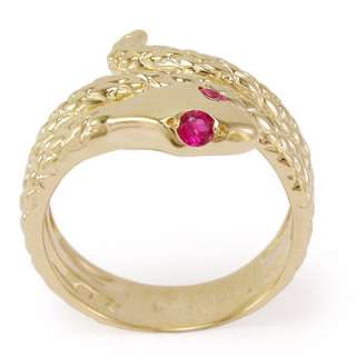 14k Solid Yellow Gold Snake Ruby Eye Serpent Ring Sizes 4 to 9.5