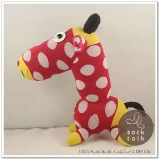 Handmade Red Dots Sock Monkey Giraffe Stuffed Animals Baby Toy