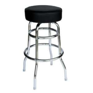 Galena Double Ring Chrome Stool with Black Vinyl Seat