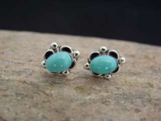 Navajo Indian Sterling Silver Turquoise Post Earrings