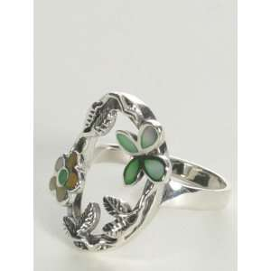 Silver Green & Yellow Coral Flower Ring Size 6 jpwjewelry Jewelry