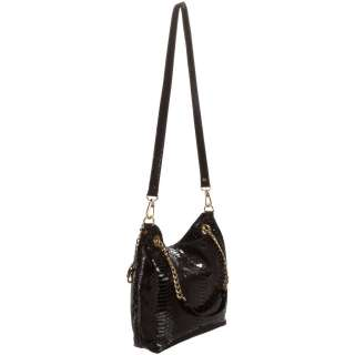Michael Kors Jet Set Patent Python Chain Medium Shoulder Tote, (Black