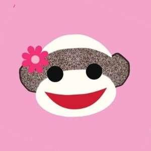 Pink Sock Monkey Flower Girl Round Sticker Arts, Crafts