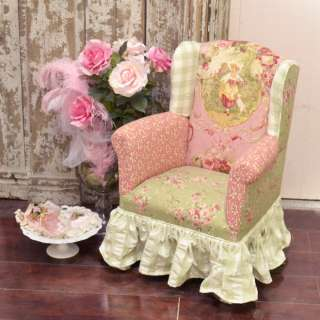 Pink and Sage Rose Victorian Style Petite Slipper Chair Wing