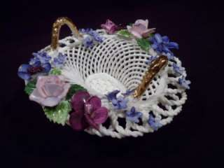 RARE Royal Adderley Bone China Lattice Basket, Porcelain, Vintage
