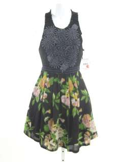 NWT FREE PEOPLE Black Floral Print Sleeveless Dress XS