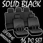 16pc Set Solid Black Auto Car Seat Covers FREE Steering Wheel Belt Pad