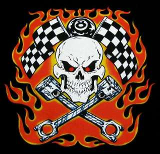 BIKER HOT ROD SKULL 8 BALL FLAMES PISTON T SHIRT DS15