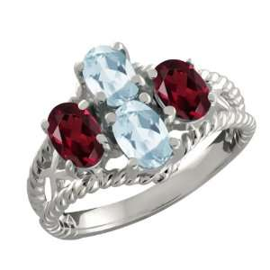 Oval Sky Blue Aquamarine and Red Garnet Sterling Silver Ring Jewelry